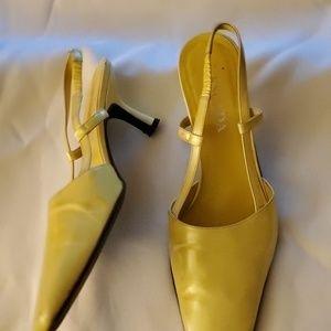 Escada Yellow Glossy Leather Heels